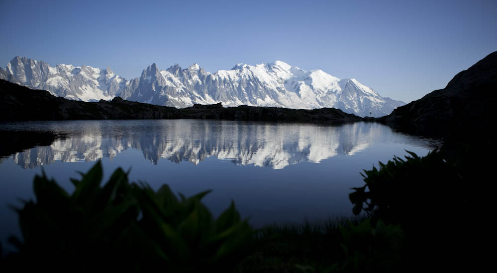 Mont Blanc reflecting in Lac Blanc close to Chamonix, France